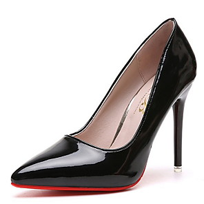 cheap Women's Sandals-Women's Heels Stiletto Heel Pointed Toe PU Winter Black / Almond / Red