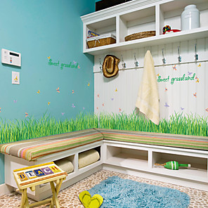 cheap Wall Stickers-SK7090 grass butterfly baseboard wall stickers bedroom living room bathroom cabinet doors and windows background decorative stickers