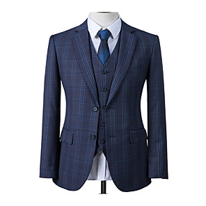 cheap Custom Suits-Prussian blue windowpane custom suit