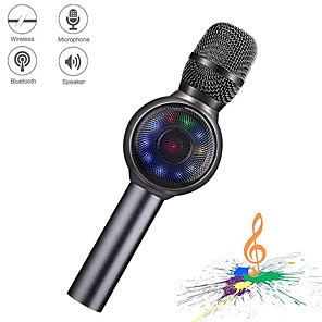 cheap Microphones-Wireless Bluetooth Karaoke Microphone 3-in-1 portable handheld karaoke mic karaoke player multi-function LED light