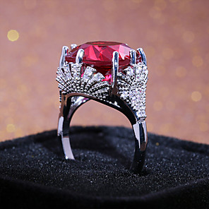 cheap Wetsuits, Diving Suits & Rash Guard Shirts-Women's Band Ring Ring AAA Cubic Zirconia 1pc Red Copper Silver Plated Geometric Statement Stylish Classic Party Gift Jewelry Classic Cute