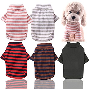 cheap Dog Clothes-Dog Cat Pajamas Dog Clothes Green Red Pink Costume Husky Labrador Golden Retriever Cotton Stripes Casual / Daily Stripes XS S M L XL XXL