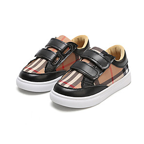 cheap Kids' Oxfords-Boys' Comfort / First Walkers Canvas / PU Sneakers Toddler(9m-4ys) / Little Kids(4-7ys) Buckle / Plaid / Split Joint Black / White Spring / Fall / Party & Evening / Color Block