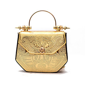 cheap Clutches & Evening Bags-Women's Chain Polyester Evening Bag Solid Color Black / Gold / Silver