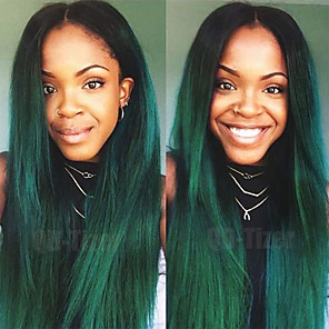 cheap Human Hair Capless Wigs-Synthetic Lace Front Wig Straight Middle Part Lace Front Wig Ombre Long Black / Dark Green Synthetic Hair 18-26 inch Women's Adjustable Heat Resistant Party Green Ombre