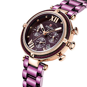 cheap Quartz Watches-REWARD Women's Quartz Watches Fashion Black Blue Silver Stainless Steel Chinese Quartz Black Rose Gold Purple Water Resistant / Waterproof Calendar / date / day Chronograph 30 m 1 pc Analog One Year