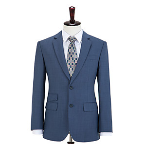 cheap Custom Tuxedo-Steel Blue Plaid Wool Custom Suit