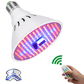 cheap Plant Growing Lights-Grow Light LED Plant Growing Light 12 W 607 lm 204 LED Beads Remote Control / RC Dimmable Growing Light Fixture Red 85-265 V Vegetable Greenhouse