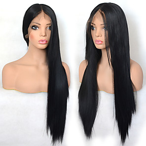 cheap Synthetic Lace Wigs-Synthetic Lace Front Wig Straight with Baby Hair Lace Front Wig Very Long Black#1B Synthetic Hair 22-26 inch Women's Cosplay Synthetic Easy dressing Black