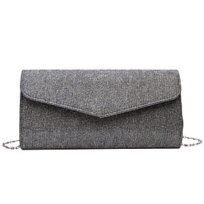 cheap Clutches & Evening Bags-Women's Sequin / Glitter Polyester Evening Bag Solid Color Black / Champagne / Silver