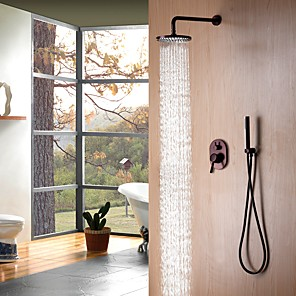 cheap Shower Faucets-Shower Faucet - Contemporary / Antique Oil-rubbed Bronze Wall Mounted Ceramic Valve Bath Shower Mixer Taps