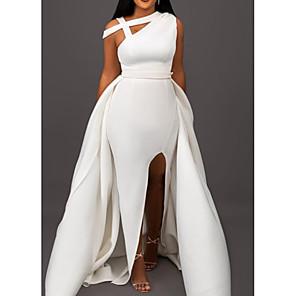 cheap Evening Dresses-A-Line Elegant Formal Evening Dress One Shoulder Sleeveless Sweep / Brush Train Satin with Split Front 2020