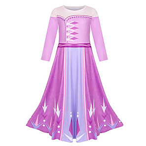 cheap Movie & TV Theme Costumes-Elsa Dress Masquerade Flower Girl Dress Girls' Movie Cosplay A-Line Slip Cosplay Halloween Purple Dress Halloween Carnival Masquerade Polyester