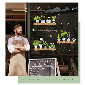 cheap Wall Stickers-SK6093ds fresh plant pot glass door window background sticker cafe decoration wall sticker