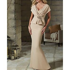 cheap Latin Dancewear-Mermaid / Trumpet Elegant Peplum Wedding Guest Formal Evening Dress V Neck Short Sleeve Floor Length Jersey with Crystals Ruffles 2020
