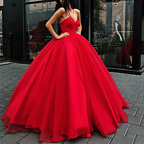 cheap Wedding Party Dresses-Ball Gown Wedding Dresses Strapless Floor Length Organza Strapless Plus Size Wedding Dress Red with Draping 2020