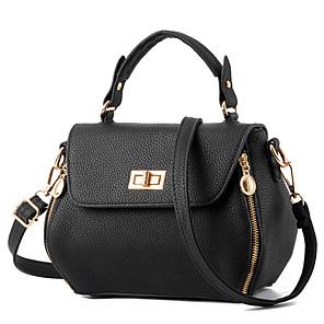 cheap Handbag & Totes-Women's Polyester / PU Top Handle Bag Solid Color Black / White / Blushing Pink