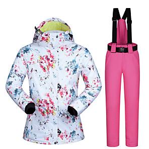cheap Costume Wigs-MUTUSNOW Women's Ski Jacket with Pants Skiing Snowboarding Winter Sports Waterproof Windproof Warm Polyester Clothing Suit Ski Wear