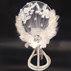 "cheap Fascinators-Wedding Flowers Bouquets / Unique Wedding Décor Wedding / Special Occasion Lace / Feathers / Beads 17.72""(Approx.45cm)"