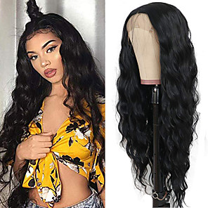 cheap Synthetic Lace Wigs-Synthetic Lace Front Wig Loose Wave Water Wave Kardashian Middle Part with Baby Hair Lace Front Wig Long Natural Black Synthetic Hair 18-30 inch Women's Heat Resistant Classic Synthetic Black