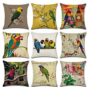 cheap Pillow Covers-9 pcs Linen Pillow Cover, Floral Bird Rustic Cartoon Throw Pillow