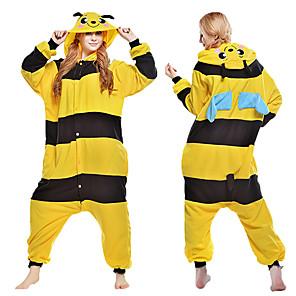 cheap Kigurumi Pajamas-Adults' Kigurumi Pajamas Bee Animal Onesie Pajamas Coral fleece Yellow Cosplay For Men and Women Animal Sleepwear Cartoon Festival / Holiday Costumes