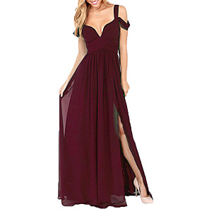 cheap Women's Boots-A-Line Elegant Prom Formal Evening Dress Spaghetti Strap Short Sleeve Floor Length Chiffon with Pleats Ruched Split Front 2020