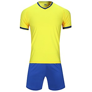 cheap Soccer Jerseys, Shirts & Shorts-Men's Soccer Jersey and Shorts Clothing Suit Breathable Quick Dry Soft Team Sports Active Training Football Cotton Adults Teen White Yellow Ocean Blue / Micro-elastic