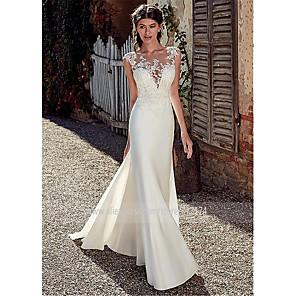 cheap Wedding Dresses-A-Line Wedding Dresses Bateau Neck Court Train Chiffon Lace Tulle Cap Sleeve Illusion Detail Backless with Lace Appliques 2020