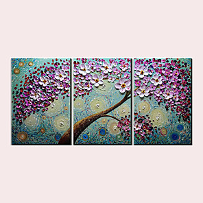 cheap Abstract Paintings-Oil Painting Hand Painted - Abstract Abstract Landscape Modern Stretched Canvas / Three Panels