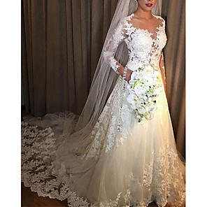 cheap Wedding Slips-A-Line Wedding Dresses V Neck Court Train Lace Tulle Long Sleeve Illusion Sleeve with Lace Insert 2020