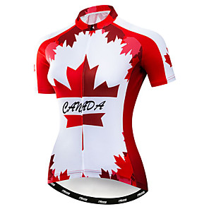 cheap Cycling Jerseys-21Grams Women's Short Sleeve Cycling Jersey Polyester Elastane Red Canada National Flag Bike Jersey Top Mountain Bike MTB Road Bike Cycling Breathable Quick Dry Moisture Wicking Sports Clothing