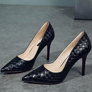 cheap Women's Heels-Women's Heels Stiletto Heel Pointed Toe PU Winter Black / White