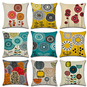 cheap Throw Pillow Covers-Set of 9 Linen Pillow Cover, Floral Geometic Wedding Fashion Throw Pillow