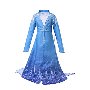 cheap Movie & TV Theme Costumes-Elsa Dress Masquerade Flower Girl Dress Girls' Movie Cosplay A-Line Slip Cosplay Halloween Light Blue Dress Halloween Carnival Masquerade Tulle Polyester