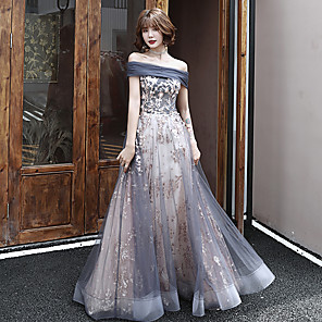 cheap Prom Dresses-A-Line Sparkle Grey Prom Formal Evening Dress Off Shoulder Sleeveless Floor Length Tulle with Sequin Appliques 2020