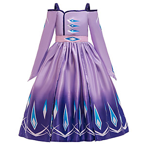 cheap Movie & TV Theme Costumes-Elsa Dress Flower Girl Dress Girls' Movie Cosplay A-Line Slip Halloween Christmas Purple / Blue Dress Halloween