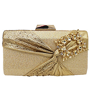 cheap Clutches & Evening Bags-Women's Bow(s) / Crystals Alloy Evening Bag Champagne / Gold / Silver