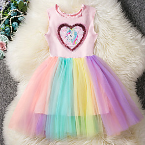 cheap Movie & TV Theme Costumes-Unicorn Cosplay Costume Masquerade Flower Girl Dress Kid's Girls' A-Line Slip Cosplay Halloween Christmas Halloween Carnival Festival / Holiday Tulle Cotton Blue Carnival Costumes Color Block Unicorn