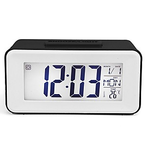 cheap Wall Clocks-LCD Digital Wall Clock,Atomic Clock with Fold Out Stand,Battery Operated,Radio Controlled, Easy to Read Time,Date,Day of The Week and Temperature.