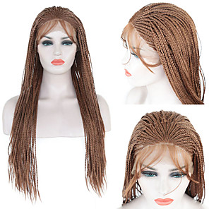 cheap Synthetic Lace Wigs-Synthetic Lace Front Wig Box Braids Braid Lace Front Wig Long Brown Synthetic Hair 1824 inch Women's Soft Adjustable Heat Resistant Brown