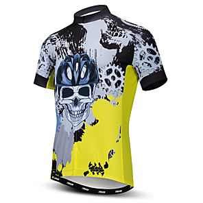 cheap Cycling Jerseys-21Grams Men's Short Sleeve Cycling Jersey Polyester Elastane Lycra Yellow Skull Bike Jersey Top Mountain Bike MTB Road Bike Cycling Breathable Quick Dry Moisture Wicking Sports Clothing Apparel