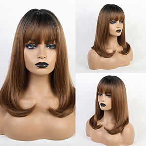 cheap Synthetic Trendy Wigs-Synthetic Wig Bangs Natural Wave Natural Straight Side Part Neat Bang With Bangs Wig Medium Length Light Brown Synthetic Hair 16 inch Women's Cosplay Women Synthetic Light Brown HAIR CUBE