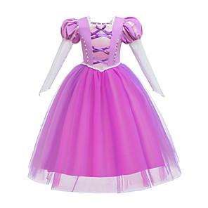 cheap Movie & TV Theme Costumes-Rapunzel Dress Masquerade Flower Girl Dress Girls' Movie Cosplay A-Line Slip Cosplay Halloween Pink Dress Halloween Carnival Masquerade Tulle Cotton