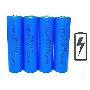cheap Flashlights & Camping Lanterns-Li-ion 18650 Battery 2000 mAh 4pcs 3.7 V Rechargeable Compact Size Emergency for Outdoor LED Flashlight Bike Light Camping / Hiking Hunting Fishing Blue / Cycling / Bike