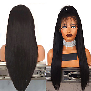 cheap Synthetic Lace Wigs-Synthetic Lace Front Wig Straight Middle Part Lace Front Wig Long Black#1B Synthetic Hair 18-26 inch Women's Adjustable Heat Resistant Party Black