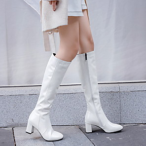 cheap Women's Boots-Women's Boots Knee High Boots Flare Heel Round Toe Sexy Daily Solid Colored PU Mid-Calf Boots Walking Shoes Winter White / Black / Red