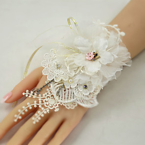 cheap Wedding Flowers-Wedding Flowers Wrist Corsages Wedding Party / Birthday Party Lace / Organza / Metal 0-20cm