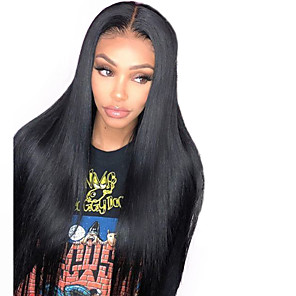 cheap Synthetic Lace Wigs-Synthetic Lace Front Wig Straight Middle Part Lace Front Wig Long Natural Black Synthetic Hair 18-26 inch Women's Life Adjustable Classic Black