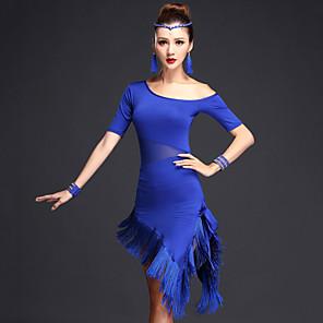 cheap Dancing Costumes-Women's Flapper Girl Latin Dance Flapper Dress Party Costume Tassel Flapper Costume Polyster Black Fuchsia Royal Blue Dress